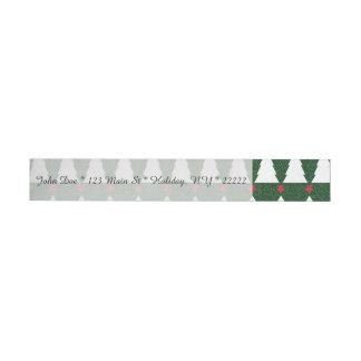 White Christmas Trees on Sparkling Green Wraparound Address Label