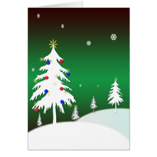 White Christmas Trees with Green Background Greeting Card