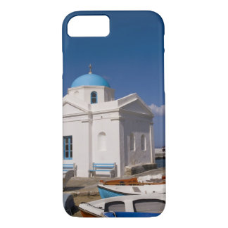 White church on the beach near the Aegean Sea on iPhone 8/7 Case