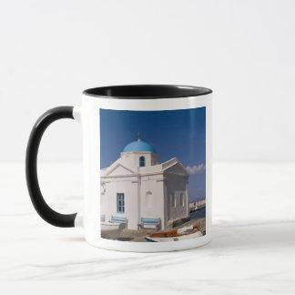 White church on the beach near the Aegean Sea on Mug
