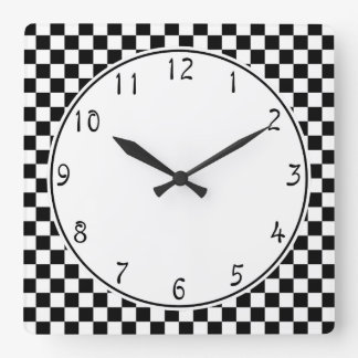 White circle Black Checkerboard pattern Square Wall Clock