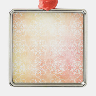 White Circle Flower with Warm Orange background Christmas Ornament