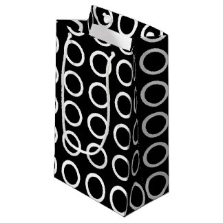 White Circles Black Small Gift Bag