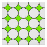 white circles in green fluorescent background poster