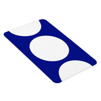 White Circles on Blue Rectangular Photo Magnet