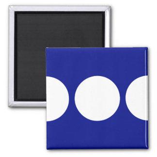 White Circles on Blue Square Magnet