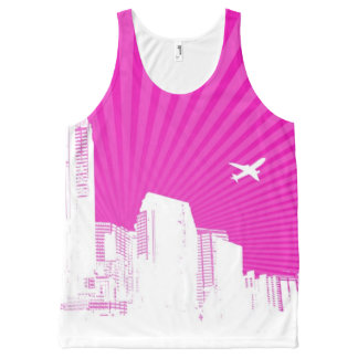 White city on pink background All-Over print tank top