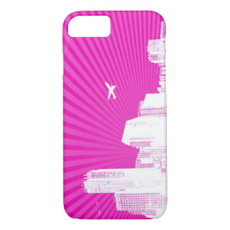 White city on pink background iPhone 8/7 case