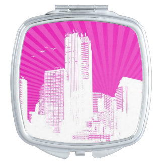 White city on pink background mirror for makeup