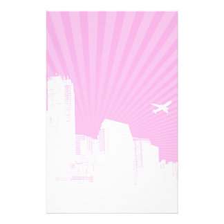 White city on pink background personalised stationery