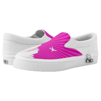 White city on pink background slip on shoes