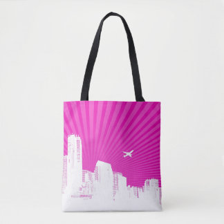 White city on pink background tote bag