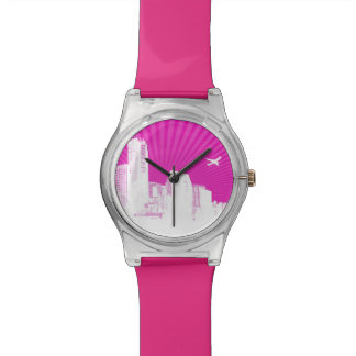 White city on pink background watch