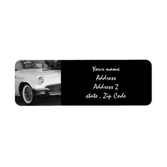 White classic car return address label