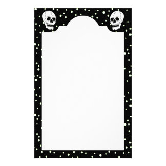 White Classic Skull Halloween Goth Stationery