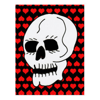 White Classic Skull Red Hearts Post Card