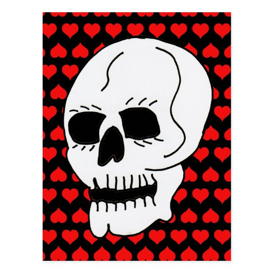 White Classic Skull Red Hearts Postcard