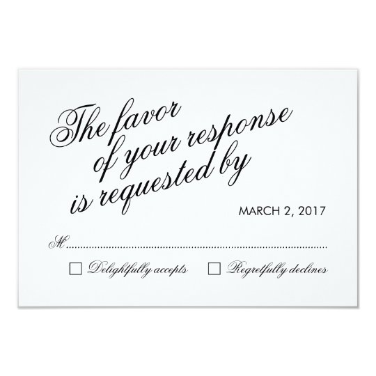 White Clean Elegant Calligraphy Wedding RSVP Card