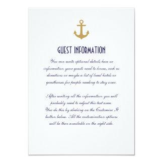 White Clean Nautical Anchor Wedding Insert Card