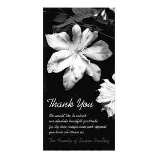 White Clematis -1- Sympathy Thank You Photo Card