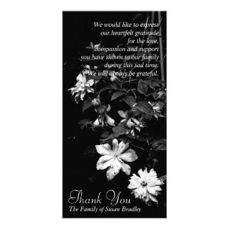 White Clematis 2 Memorial Sympathy Thank You Photo Card