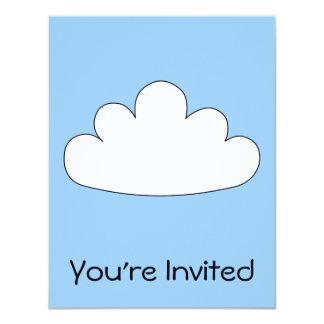 White Cloud motif. On Blue. 11 Cm X 14 Cm Invitation Card