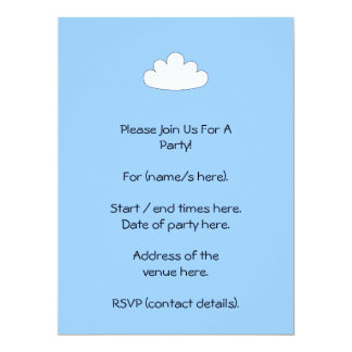 White Cloud motif. On Blue. 17 Cm X 22 Cm Invitation Card