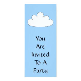 White Cloud motif. On Blue. 10 Cm X 24 Cm Invitation Card