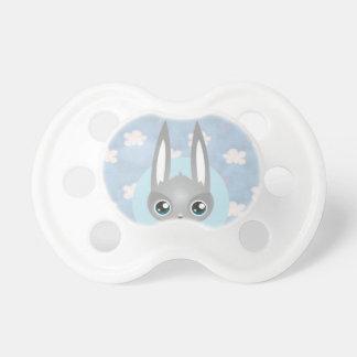White clouds blue sky, infantile gray rabbit pacifiers