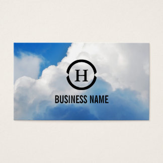 White Clouds in Blue Sky Monogram Business Card