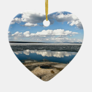 WHITE CLOUDS OVER LAKE WITH VOLCANIC CONE CHRISTMAS ORNAMENT