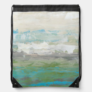 White Clouds Overlooking Beautiful Landscape Drawstring Bag