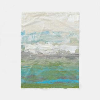 White Clouds Overlooking Beautiful Landscape Fleece Blanket