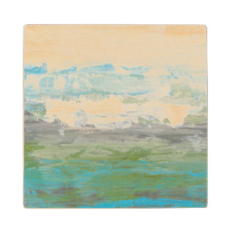 White Clouds Overlooking Beautiful Landscape Wood Coaster