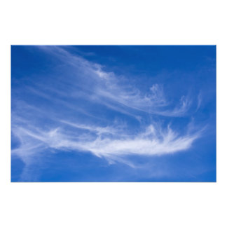 White clouds with blue sky photo print
