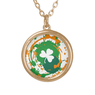 White Clover With Ink Background Pendant