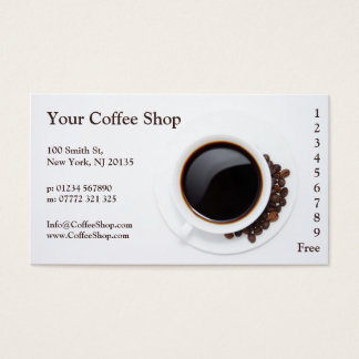 White Coffee Mug and Beans Photo, Loyalty Punch Business Card