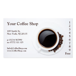 White Coffee Mug and Beans Photo, Loyalty Punch Pack Of Standard Business Cards