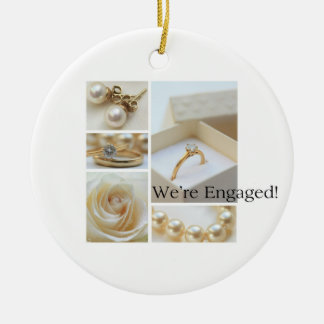 White collage engagement announcement christmas ornament