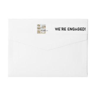 White collage engagement announcement wrap around label