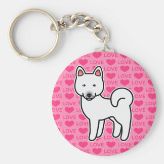 White Color Akita Cartoon Dog On Pink Background Key Ring