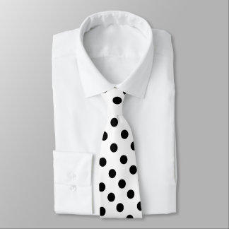 White Color With Black Dots Tie