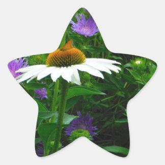 White Cone flower, purple flowers and moth Star Sticker