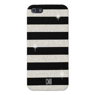White Confetti Glitter & Black Stripes | Monogram iPhone 5/5S Covers