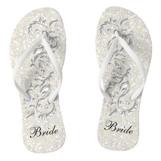 White Confetti Glitter & White Metallic | Bride Flip Flops