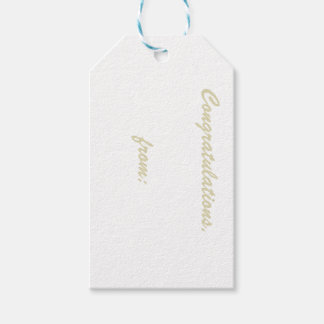 White Congratulations Gift Tag (gold script)