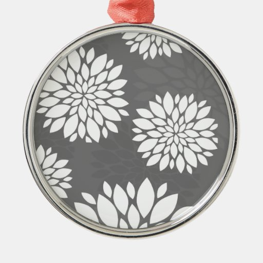 White Contemporary Flowers Christmas Ornaments