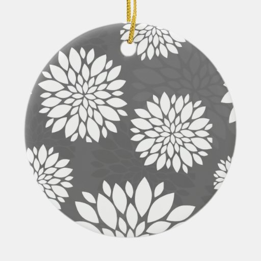 White Contemporary Flowers Ornament