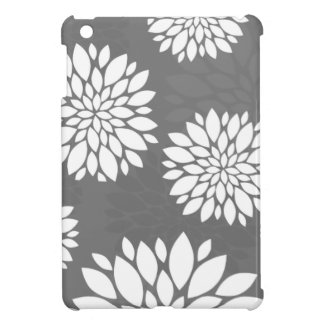 White Contemporary Flowers Cover For The iPad Mini