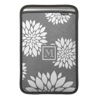 White Contemporary Flowers Personalize It Monogram Sleeve For MacBook Air